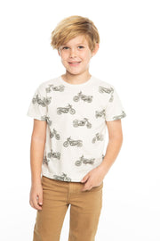 Chaser Kids - Boys Cotton Jersey Short Sleeve Crew Neck Tee in Salt