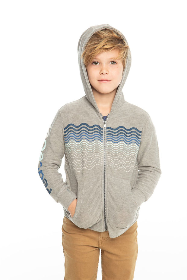 Chaser Kids - Boys Cozy Knit L/S Zip Up Hoodie in Heather Grey