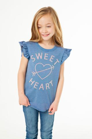 CHASER- Girls Vintage Jersey Flutter Sleeve Shirttail Tee Sweet Heart