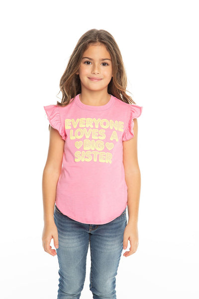 Chaser Kids - Girls Vintage Jersey Flutter Sleeve Shirttail Tee in Princess Pink