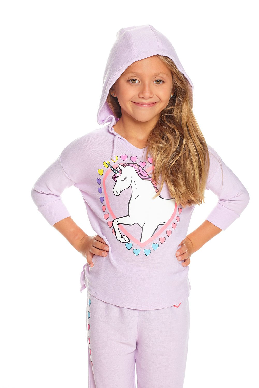 CHASER - Girls Cozy Knit 3/4 Sleeve Pullover Unicorn Hoodie