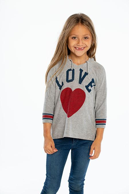 Chaser - Girls Cozy Knit Split Side 3/4 Sleeve Pullover Hoodie Heather Grey