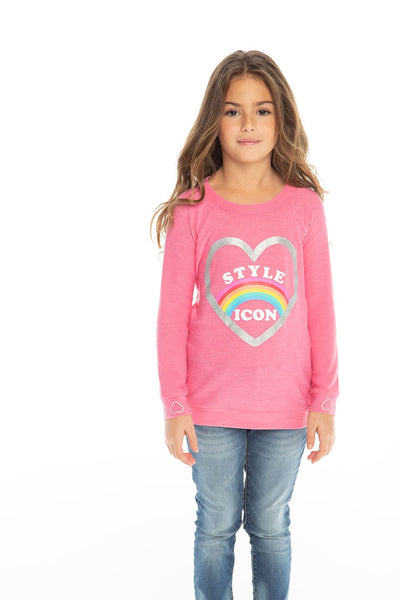 Chaser Kids - Girls Cozy Knit Raglan Pullover in Bliss