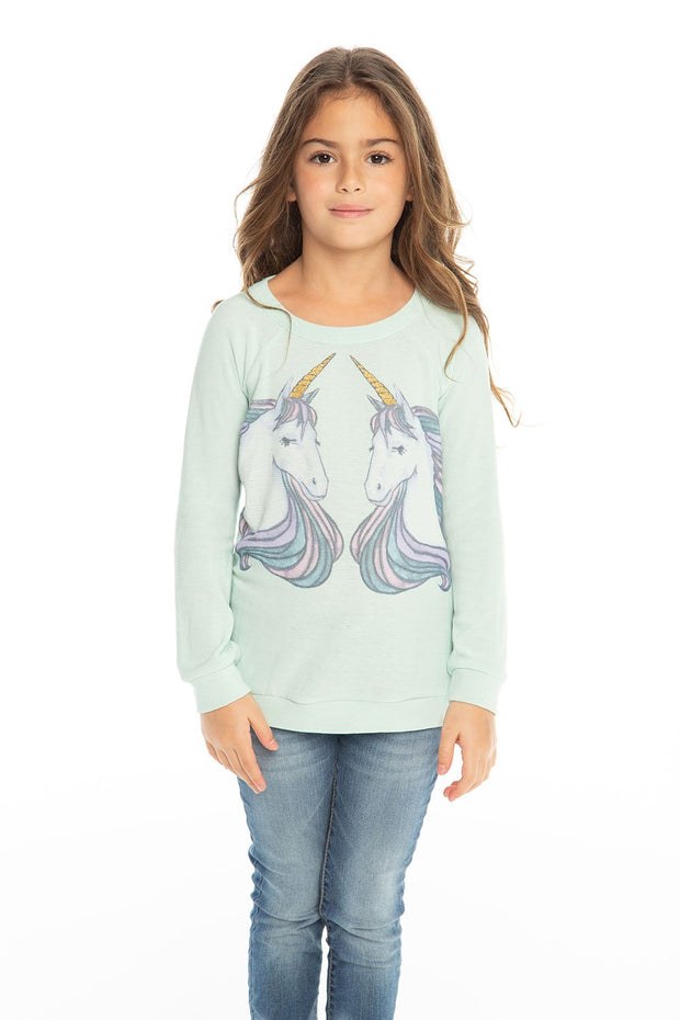 Chaser Kids - Girls Cozy Knit Raglan Pullover in Minty