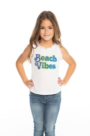 Chaser Kids - Girls Vintage Jersey Ruffle Racerback Flounce Tank in White