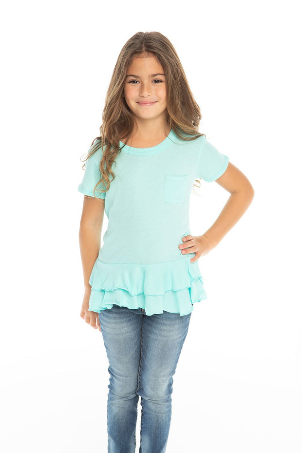 Chaser Kids- Girls Gauzy Cotton S/S Crew Neck Double Peplum Pocket Tee in Paradise