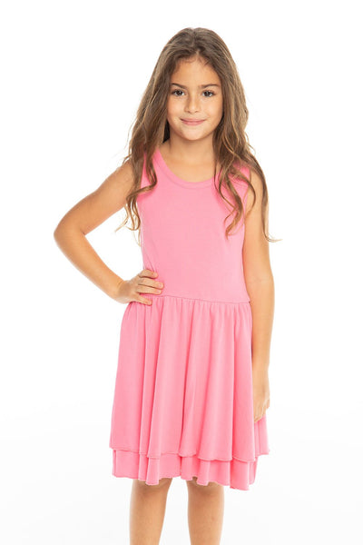 Chaser Kids - Girls Baby Rib Tiered Tank Dress in Bliss