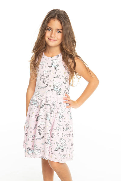 Chaser Kids - Girls Baby Rib Tiered Tank Dress in Darling
