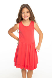 Chaser Kids - Girls Baby Rib Tiered Tank Dress in Lollipop