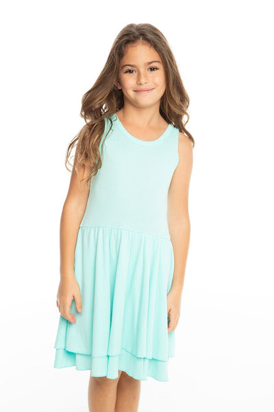 Chaser Kids - Girls Baby Rib Tiered Tank Dress in Paradise