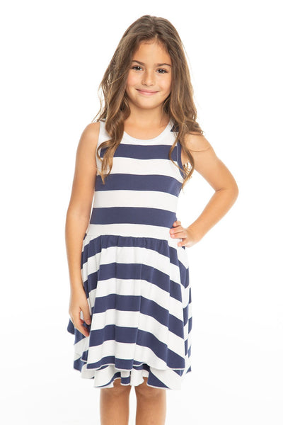 Chaser Kids - Girls Baby Rib Tiered Tank Dress in Stripe