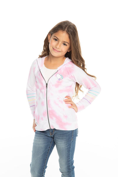 Chaser Kids - Girls Cozy Knit L/S Zip Up Hoodie in Tie Dye