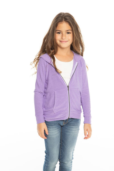 Chaser Kids - Girls Cozy Knit L/S Zip Up Hoodie in Genie