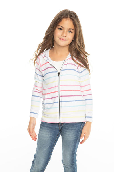 Chaser Kids - Girls Cozy Knit L/S Zip Up Hoodie in Rainbow Stripe