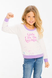 Chaser Kids - Girls Love Knit Raglan Pullover in Go Girls