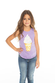Chaser Kids - Girls Vintage Jersey Shirttail Muscle in Genie