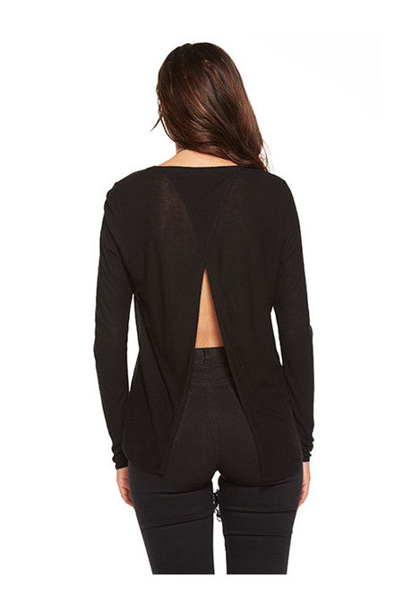 Chaser Chaser - Open Cross Back Long Sleeve Pocket Tee Black at Blond Genius - 2
