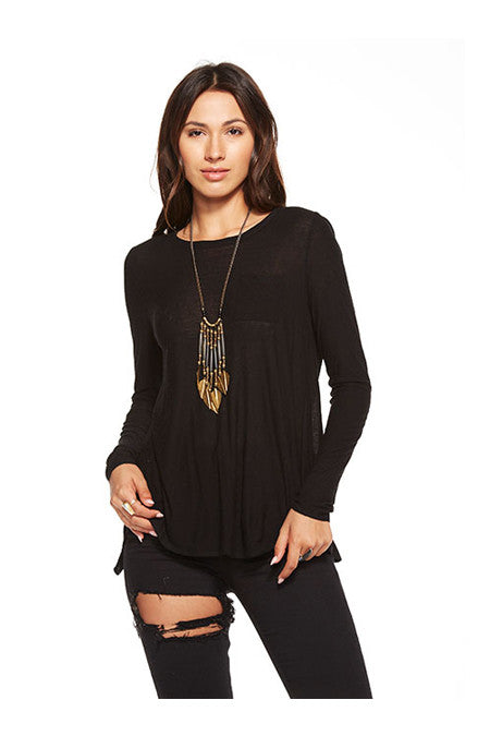 Chaser Chaser - Open Cross Back Long Sleeve Pocket Tee Black at Blond Genius - 1