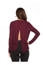 Chaser Chaser- Open Cross Back Long Sleeve Pocket Tee Sangria at Blond Genius - 1