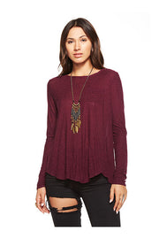 Chaser Chaser- Open Cross Back Long Sleeve Pocket Tee Sangria at Blond Genius - 2
