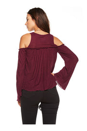 Chaser Chaser - Bell Sleeve Cold Shoulder Bohemian Top Sangria at Blond Genius - 2