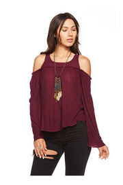 Chaser Chaser - Bell Sleeve Cold Shoulder Bohemian Top Sangria at Blond Genius - 1