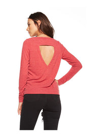 Chaser Chaser- Love Knit Open Back Long Sleeve Shirt Cardinal at Blond Genius - 2