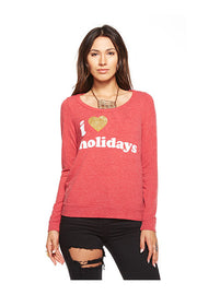 Chaser Chaser- Love Knit Open Back Long Sleeve Shirt Cardinal at Blond Genius - 1