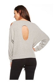 Chaser Chaser - Love Knit Cold Shoulder Vent Back Long Sleeve Dolman Heathery Grey at Blond Genius - 2