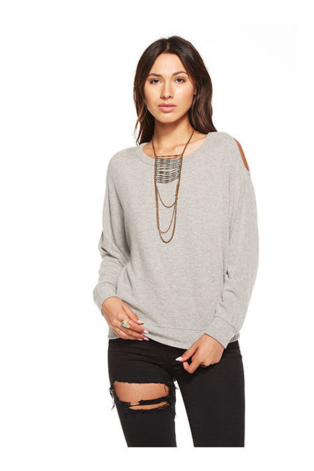 Chaser Chaser - Love Knit Cold Shoulder Vent Back Long Sleeve Dolman Heathery Grey at Blond Genius - 3