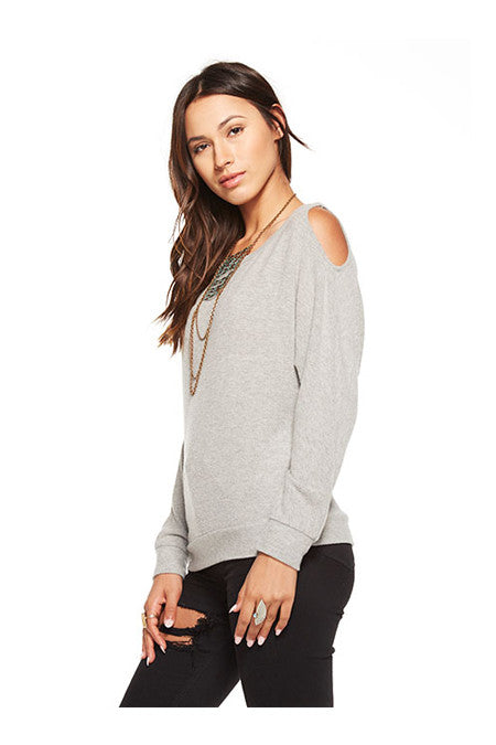 Chaser Chaser - Love Knit Cold Shoulder Vent Back Long Sleeve Dolman Heathery Grey at Blond Genius - 1