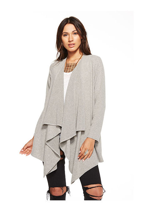 Chaser Chaser - Love Knit Drape Front Open Cardigan Heather Grey at Blond Genius - 1