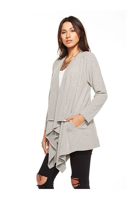 Chaser Chaser - Love Knit Drape Front Open Cardigan Heather Grey at Blond Genius - 2
