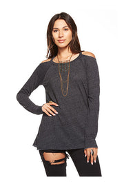 Chaser Chaser - Deconstructed Cold Shoulder Tee Black at Blond Genius - 1