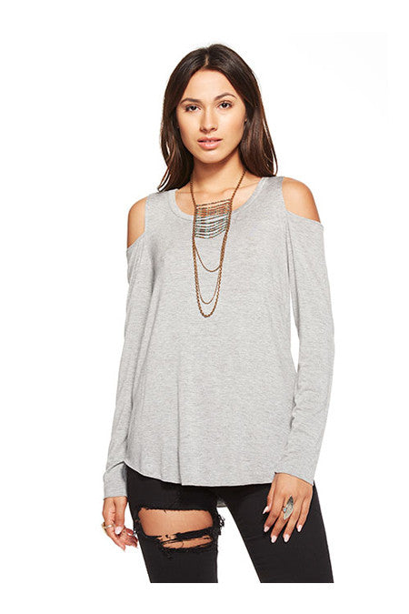 Chaser Chaser - Cool Shirttail Cold Shoulder Tee Heather Grey at Blond Genius - 1