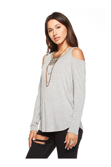 Chaser Chaser - Cool Shirttail Cold Shoulder Tee Heather Grey at Blond Genius - 2