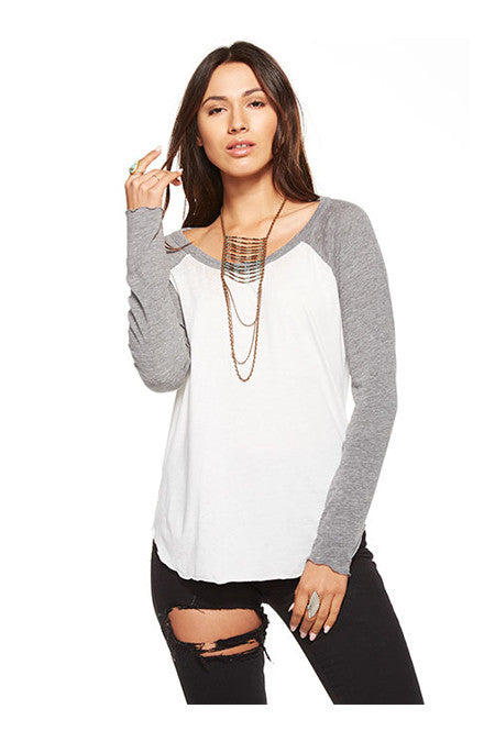 Chaser Chaser - Blocked Jersey Long Sleeve Baseball Tee White at Blond Genius