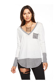 Chaser Chaser - Blocked Jersey Long Sleeve Deep V Pocket Tee White at Blond Genius - 1