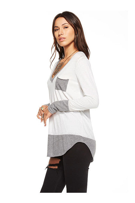 Chaser Chaser - Blocked Jersey Long Sleeve Deep V Pocket Tee White at Blond Genius - 2