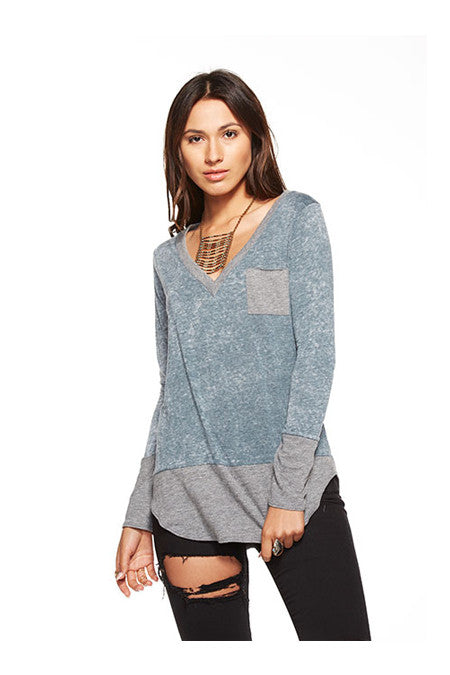 Chaser Chaser- Blocked Jersey Long Sleeve Deep V Pocket Tee Yosemite at Blond Genius - 1