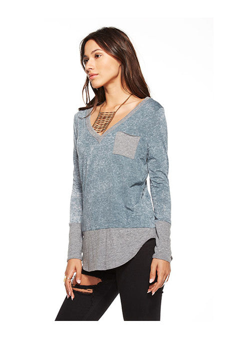 Chaser Chaser- Blocked Jersey Long Sleeve Deep V Pocket Tee Yosemite at Blond Genius - 2