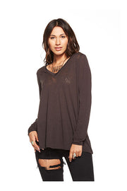 Chaser Chaser - Vintage Jersey Back Flounce Tee Union Black at Blond Genius - 1