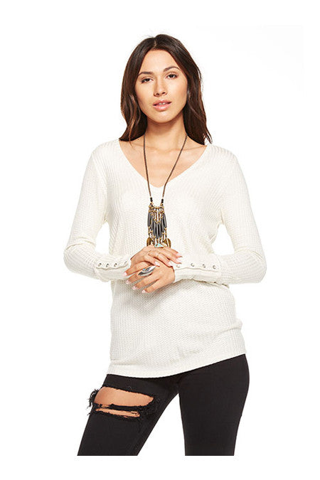 Chaser Chaser - Waffle Thermal Deep V Long Sleeve Vanilla at Blond Genius