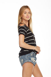 Chaser - Striped Gauze Jersey Tee