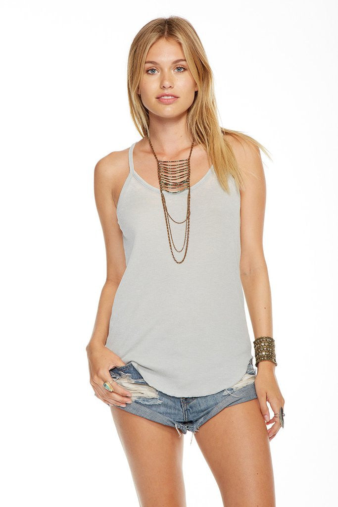 Chaser - Vintage Rib T Back Cami Cool Grey