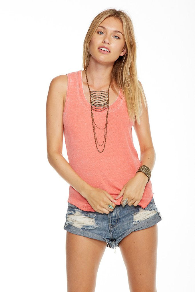 Chaser - Vintage Rib Scoop Neck Tank Melon