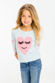 Chaser Kids - Girls Love Knit Raglan Pullover in Lash Love