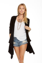 Chaser - Love Rib Draped Open Front Cardigan