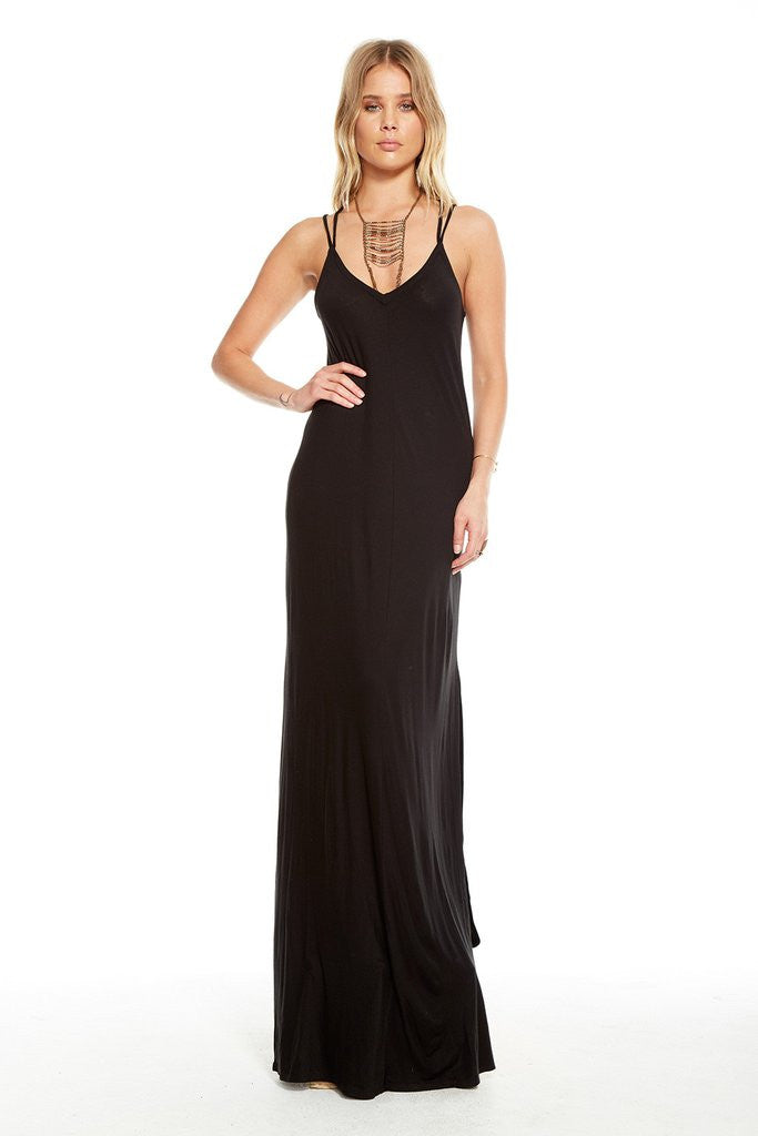 Chaser - Cross Back Bias Cut Maxi Black