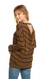 Chaser - Love Knit L/S Cut Out Draped Back Pullover